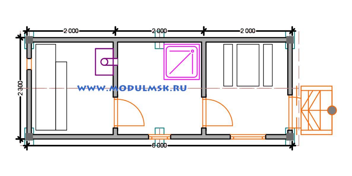 Планировка мобильной брусовой бани 2,3х6