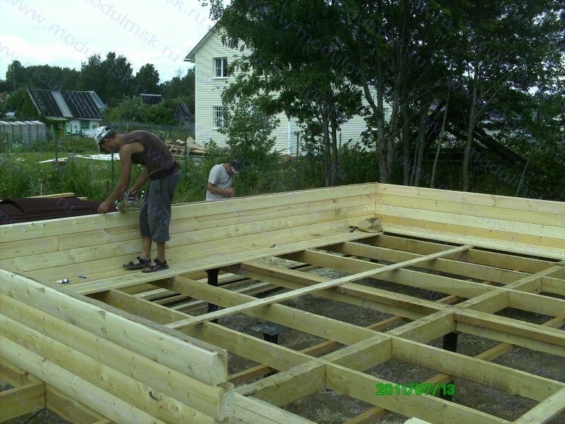 Начало работ по строительству дома из бруса